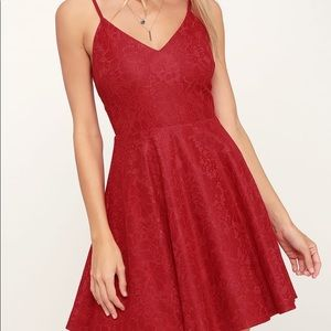 Lulus Way With Words Berry Red Lace Skater Dress